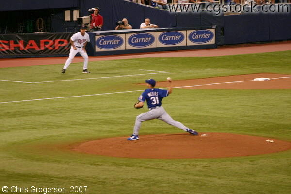 Pitcher for the Texas Rangers (Wells) Winding Up