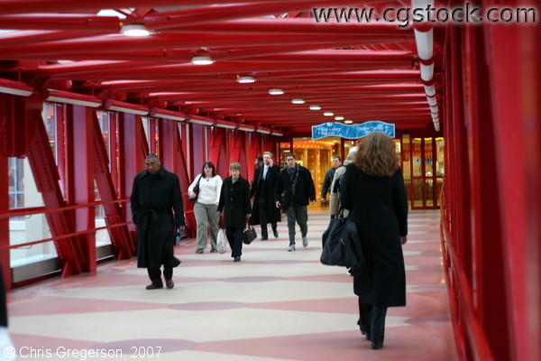 Red Skyway with Pedestrians
