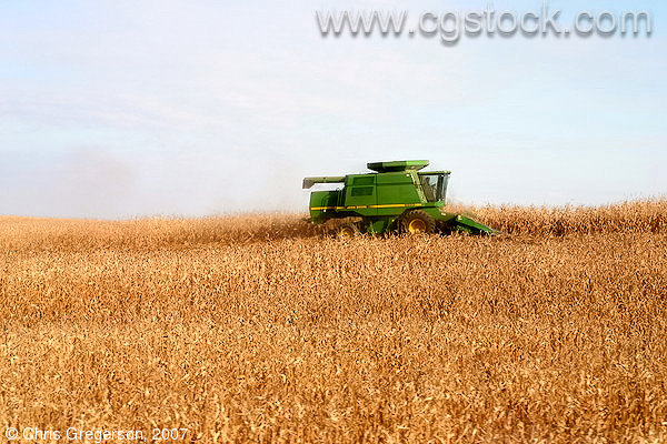 John Deere Combine in Wisconsin Corn Field