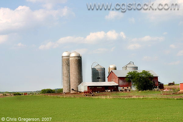 Silos on Rural Wisconsin Farm