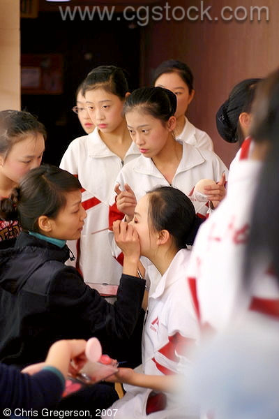 Backstage as the RFDZ Chinese Dancers Do Makeup Before their Performance