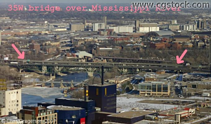 Aerial Photo Including the I-35W Bridge Over the Mississippi River, Minneapolis
