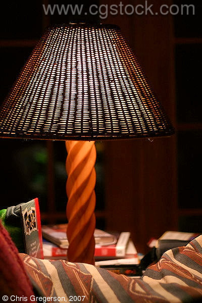 Carved Wooden Lamp with Rattan Lampshade