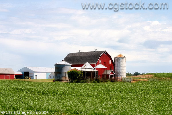 Red Barn and Silos in Rural Wisconsin