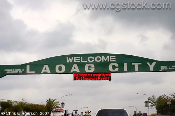 Welcome Sign for Laoag, The Capitol of Ilocos Norte, the Philippines