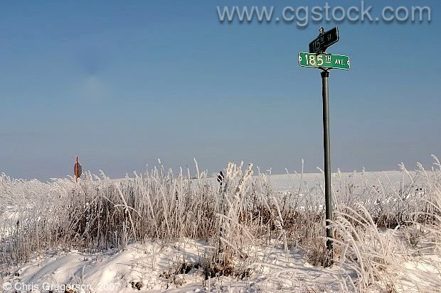 Street Sign after Frost, Rural Wisconsin