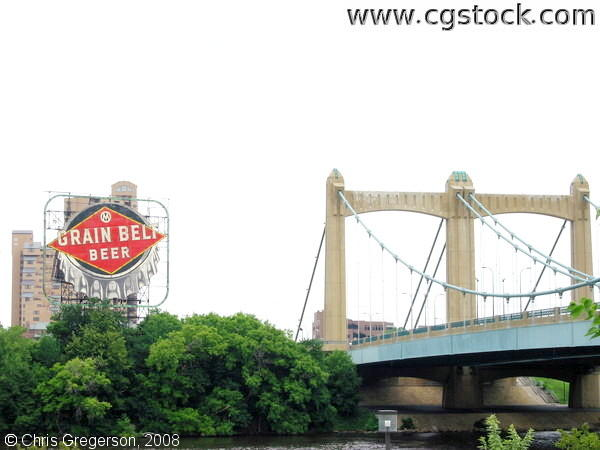 Grain Belt Beer Sign and the Hennepin Avenue Bridge