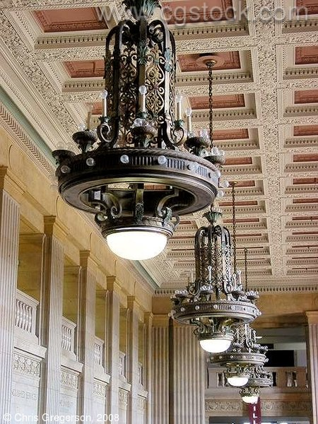 Chandeliers in the Northrop Auditorium Lobby
