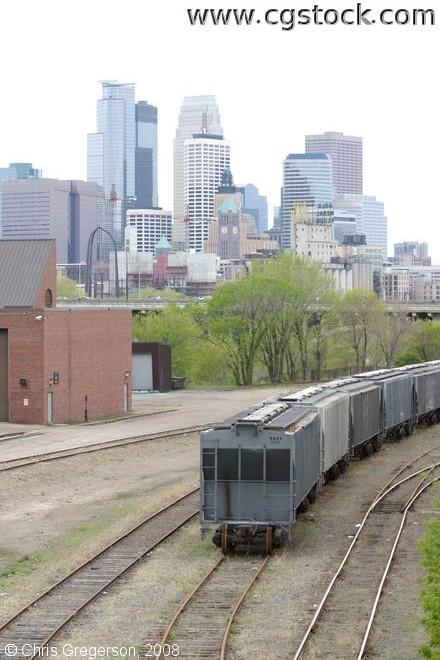 Minneapolis Skyline and Rail Yard from the U of M.