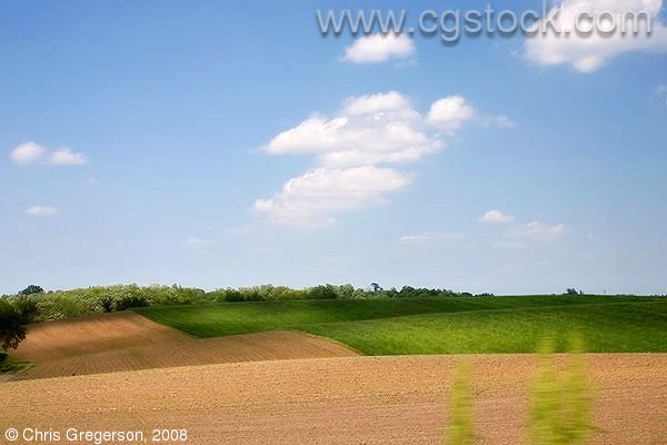 Farm Fields and Green Hills, Rural Wisconsin