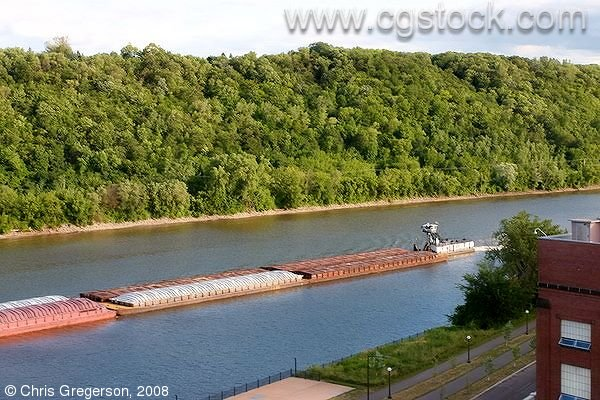Barge Traffic on the Mississippi River, St. Paul, Minnesota