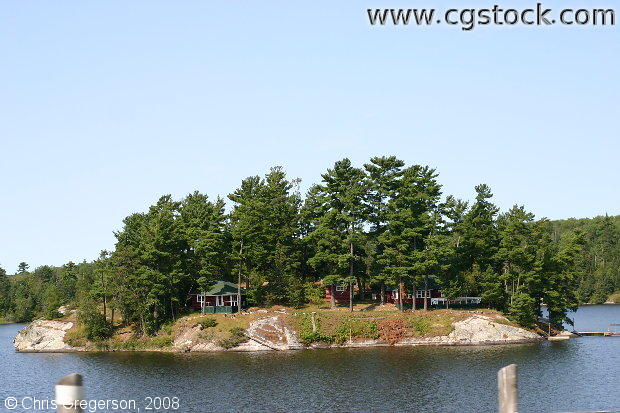 Island with Cabins, Lake of the Woods, Ontario