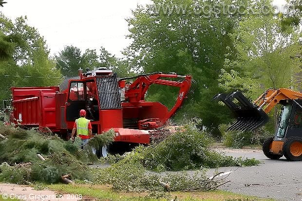 Equipment Cleaning Up Debris Following a Summer Storm