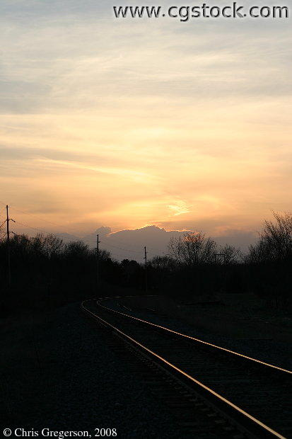 Train Tracks and Sunset, Rural Wisconsin