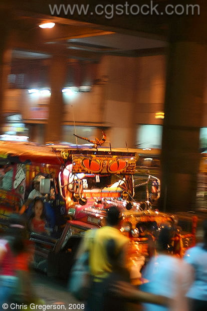 Jeepney Arriving in Cubao, Manila, at Night