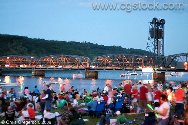 Crowds in Stillwater Waiting for Fireworks