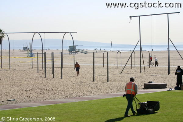 Santa Monica Beach by Chess Park