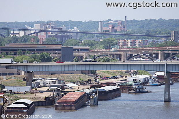 Barges Parked on the Mississippi River