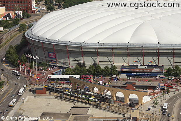 Overhead View of the Metrodome Light Rail Station