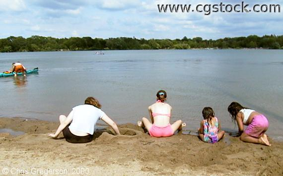 Kids at the Lake Nokomis Main Beach