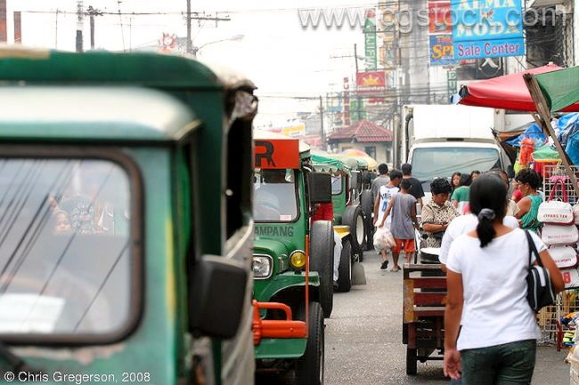 Jeepneys Backed up in Angeles City, the Philippines