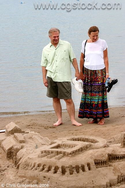 Couple Looking at Sand Sculptures, Minneapolis