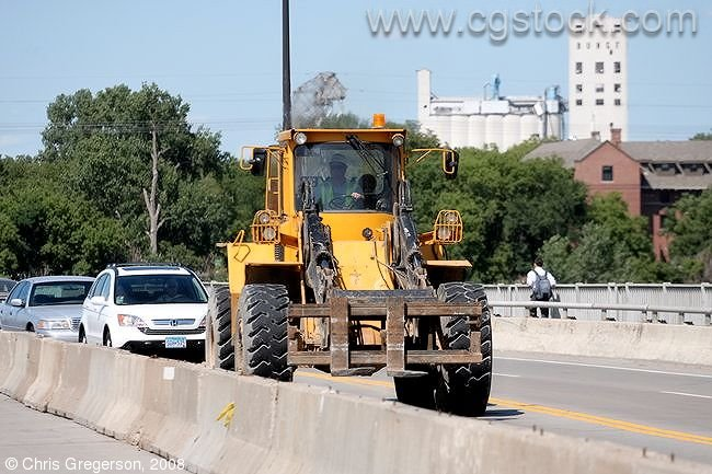 Wheel Loader Crossing Bridge