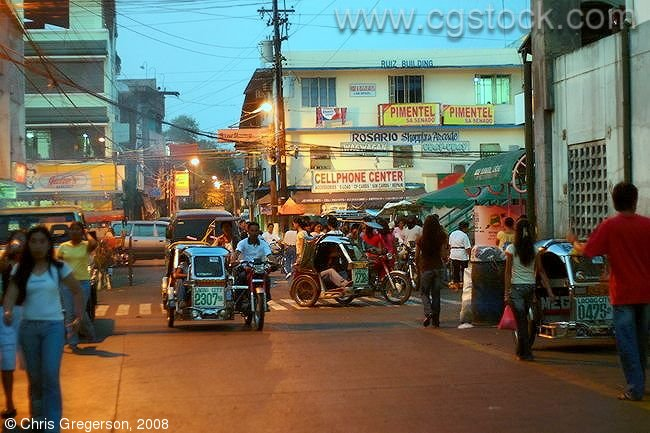 Busy Laoag Street in the Evening