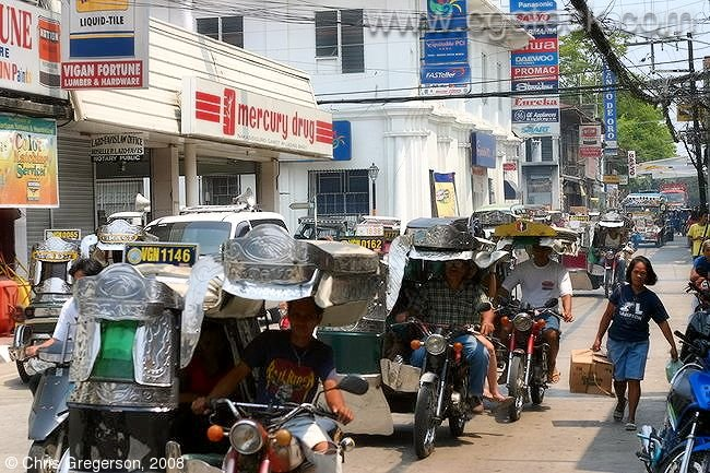 Trikes on the Street in Vigan, the Philippines