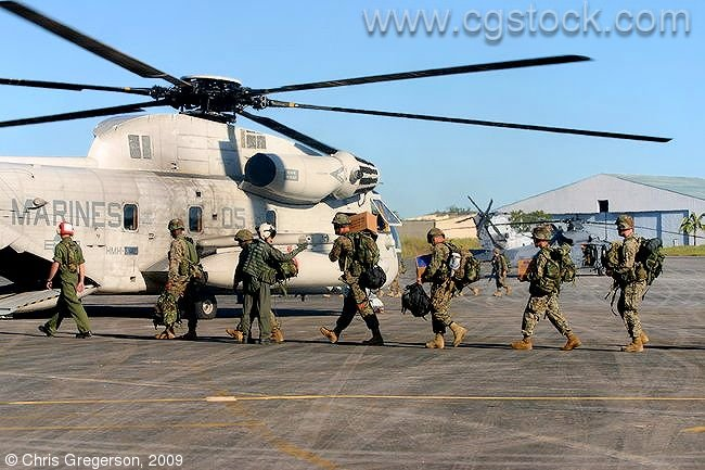 US Marines Boarding a Sea Stallion Helicopter at Clark Air Base
