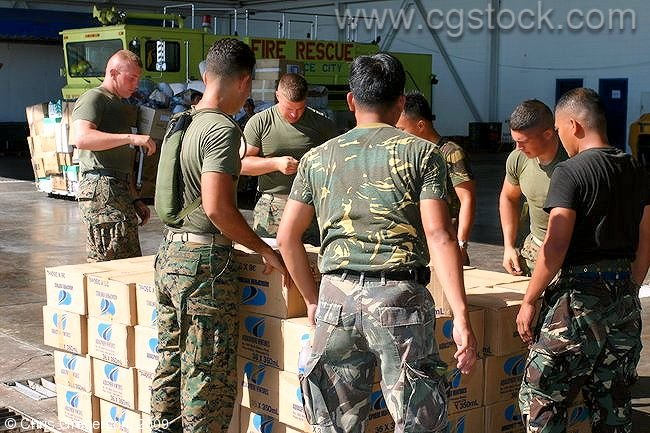 US Marines and Philippine Air Force Personnel on Relief Operation