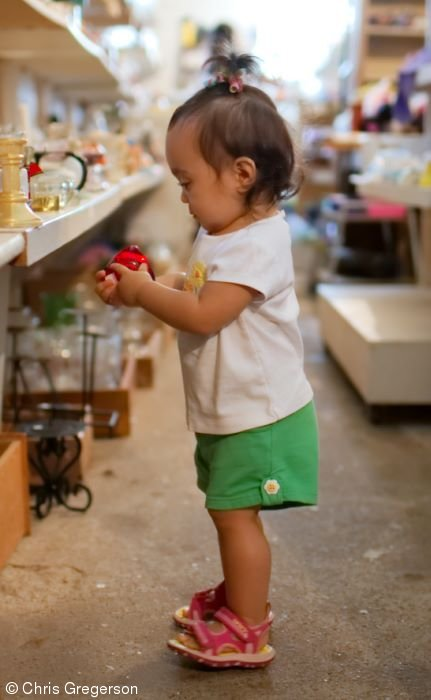 Little Girl Shopping at Flea Market