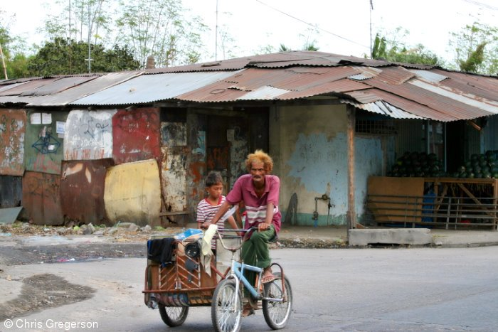 Man and Boy on Bicycle, Angeles City