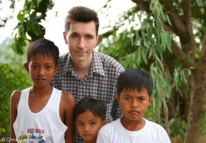 Chris with Neighborhood Kids, Philippines