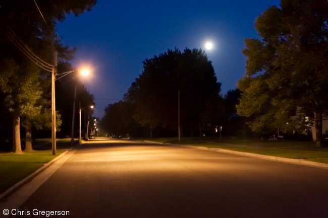 Residential Street at Night