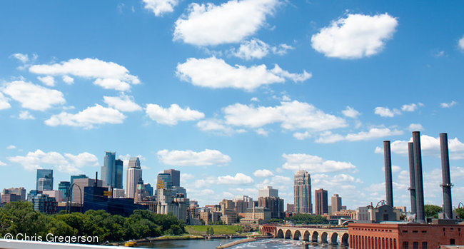 Downtown Minneapolis Skyline from Mississippi River