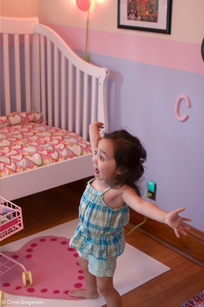 Athena Shouting with Joy in her Bedroom