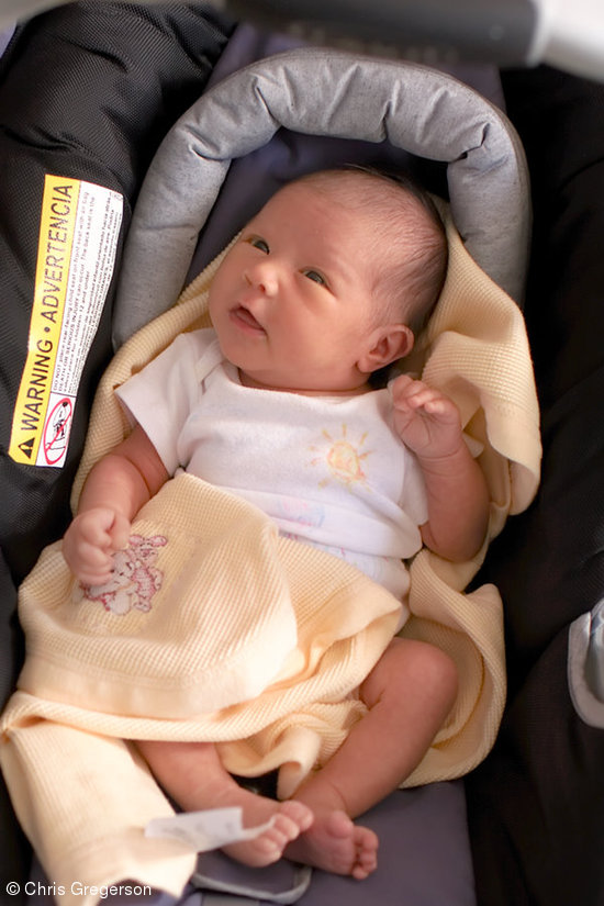 Newborn Baby Clio in her Car Seat