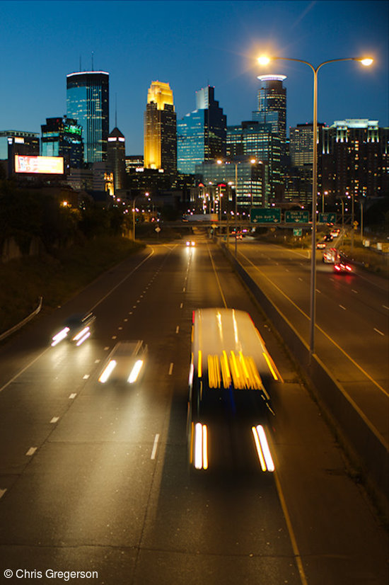 Minneapolis Skyline and Freeway at Night
